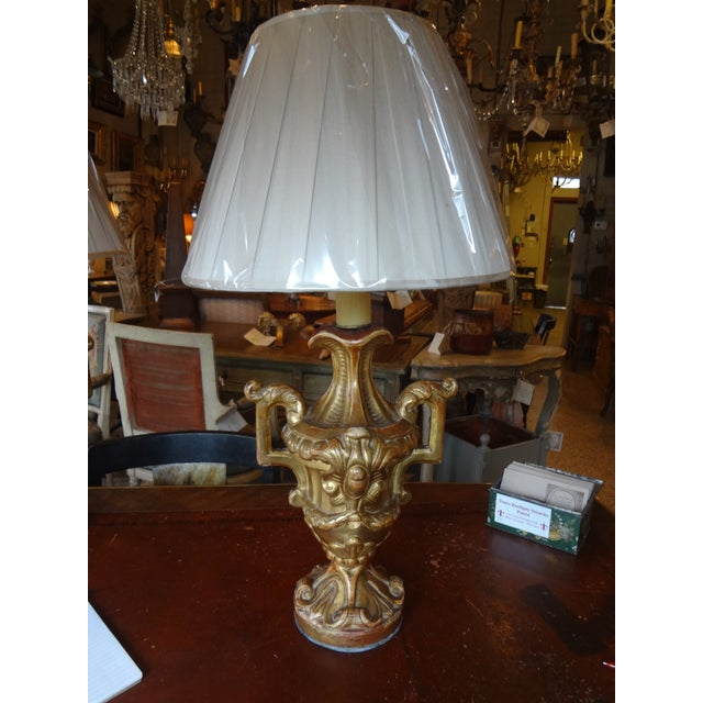 Italian Gilt Wood Lamps, Pair For Sale In New Orleans - Image 6 of 11
