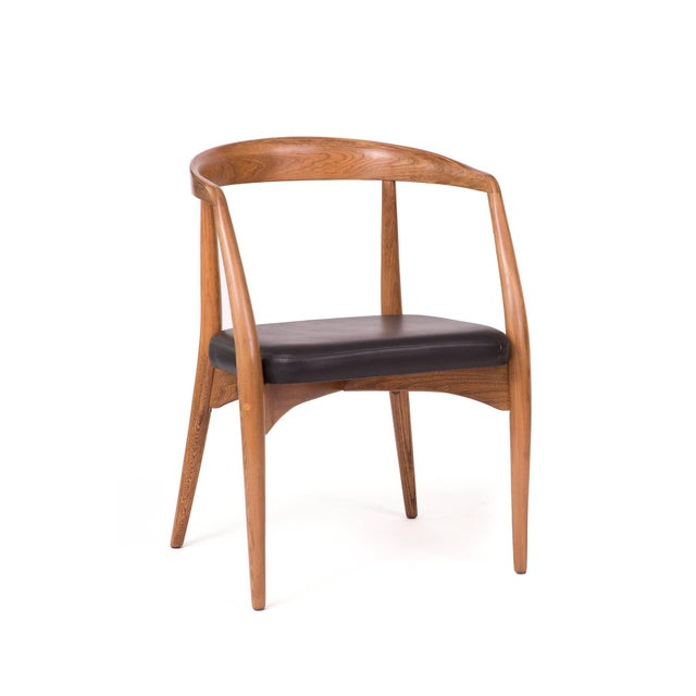 Mid-Century Modern 1960s Lawrence Peabody Oak Walnut and Leather Dining Chair For Sale - Image 3 of 11
