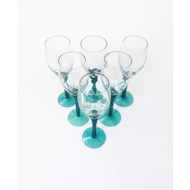 Art Deco Vintage Green Stemmed Champagne Glasses - Set of 6 For Sale - Image 3 of 5