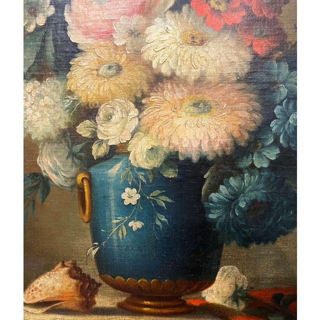 Gold 19th Century French Oval Oil on Board Floral Painting in Carved Gilt Frame For Sale - Image 8 of 12