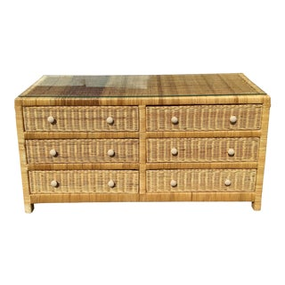 Boho Chic Natural Rattan Six Drawer Double Dresser For Sale