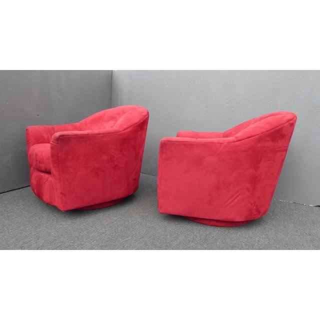 1970s Mid Century Modern Milo Baughman Style Red Swivel Chairs - a Pair For Sale - Image 10 of 13