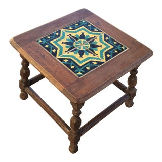 Antique California Tile Oak Side Table For Sale