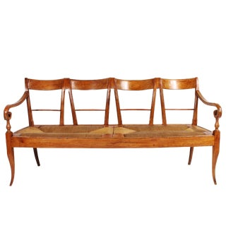 19th Century Italian Cherrywood Rush Seat Bench