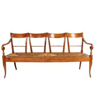 19th Century Italian Cherrywood Rush Seat Bench For Sale