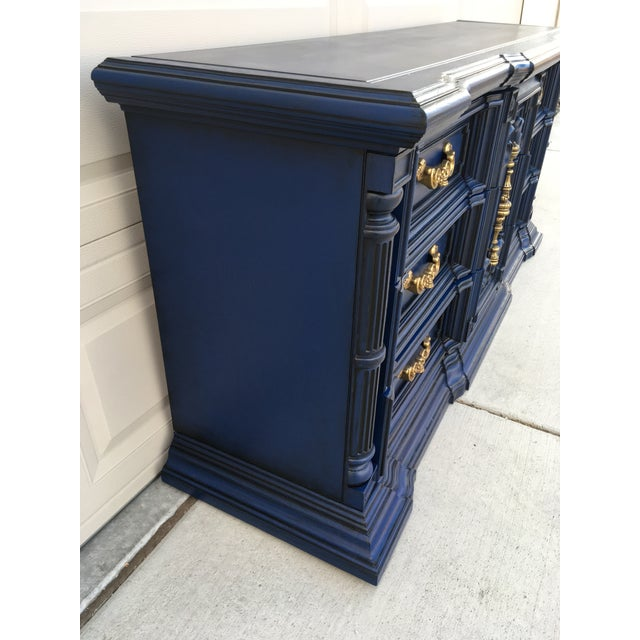 Hand Painted Navy Blue Dresser For Sale - Image 5 of 8