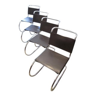 Chrome & Dark Brown Leather Mr Side Chairs by Mies Van Der Rohe - Set of 4 For Sale