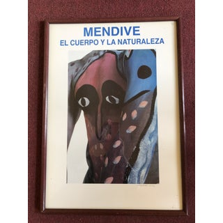 Hand Signed Gallery Poster by Afro Cuban Artist Manuel Mendive For Sale