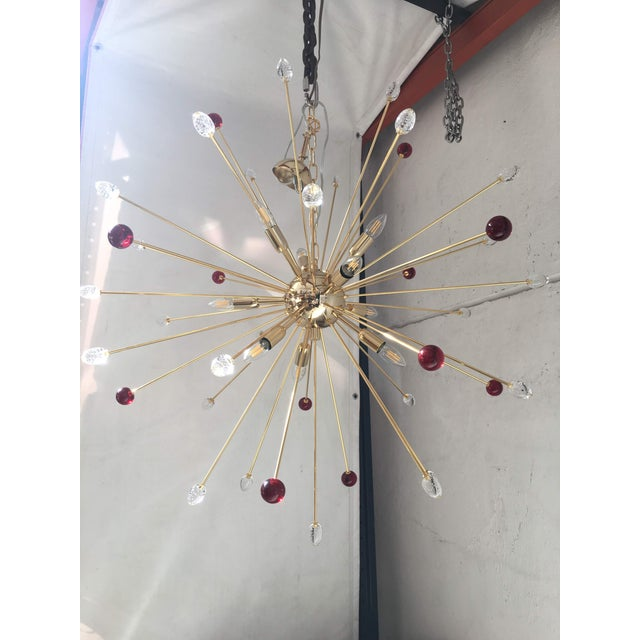 Transparent and Red Murano Glass Triedo and Gold 24k Sputnik Frame For Sale - Image 13 of 13