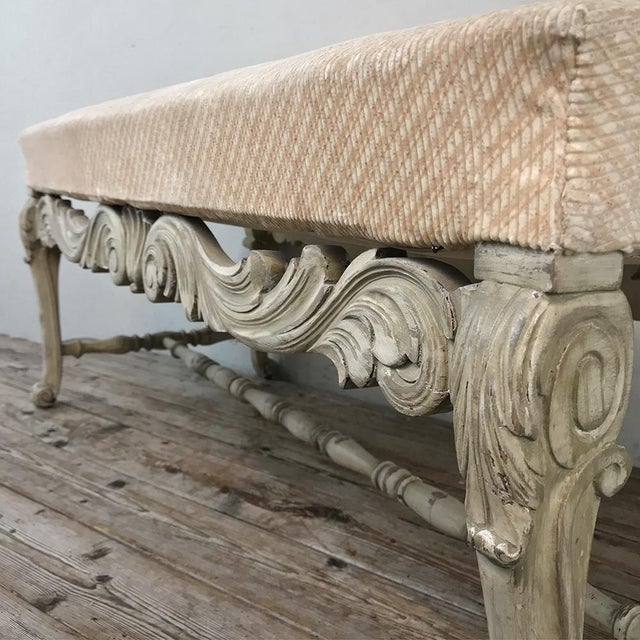 Antique French Louis XIV Painted Bench For Sale - Image 12 of 13