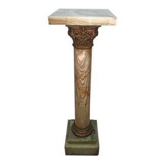 Corinthian Onyx and Bronze Pedestal