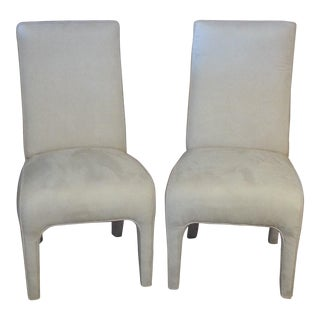 Vintage Formal Creme Ultrasuede Upholstered Dining Room Chairs- A Pair For Sale