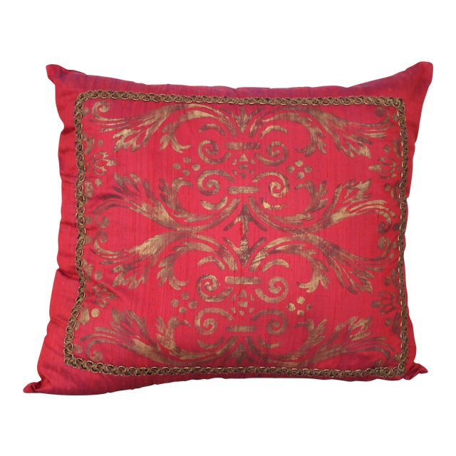 Isabelle H. Fortuny Style Hand-Painted Cherry Pillow Cover For Sale
