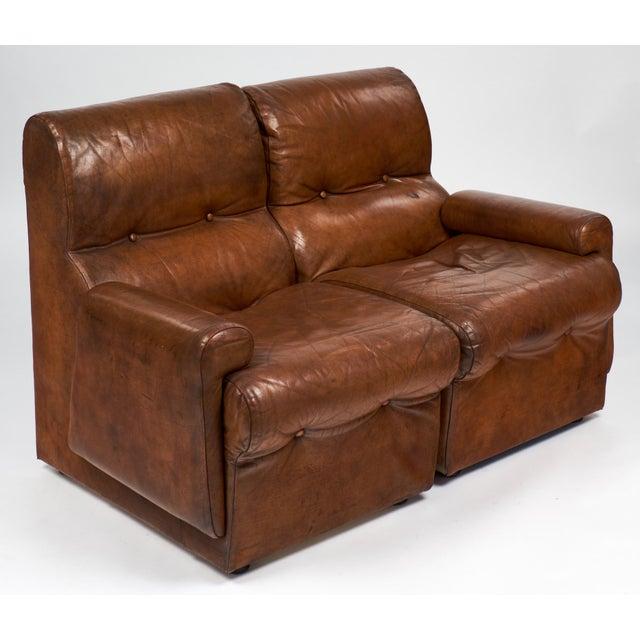 Sensational Cognac Leather Mid Century Loveseat Armchairs Chairish Machost Co Dining Chair Design Ideas Machostcouk