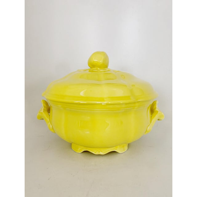 Vintage Ca. 1950s Luneville Tradition France Louis XV Yellow Tureen For Sale - Image 10 of 10