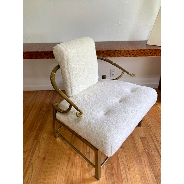 Mastercraft Vintage Mastercraft Brass Empress Lounge Chair in Faux Shearling For Sale - Image 4 of 10