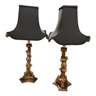 Asian Style Black Silk Shades & Gold Figural Lamps - a Pair For Sale