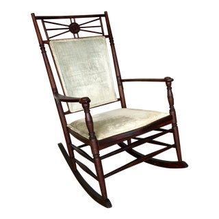Late 19th Century Antique Wooden Rocking Chair For Sale