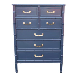 20th Century Chinoiserie Henry Link Bali Hai Faux Bamboo Highboy Dresser For Sale