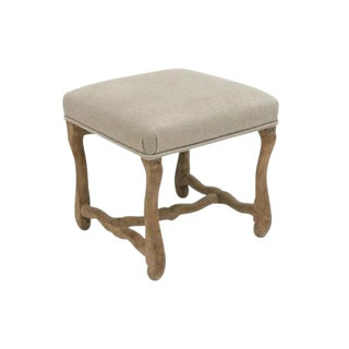 "Bleached ""Os De Mouton"" Bench Upholstered in Beige Belgian Linen For Sale"