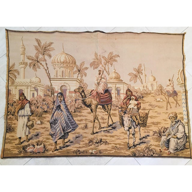 Large 19th Century Orientalist Scene and Moorish Architecture Tapestry For Sale - Image 12 of 12
