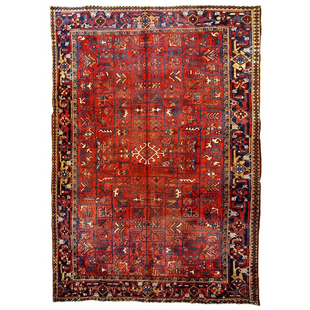 1900s Handmade Antique Persian Heriz Rug 7.3' X 10.1' For Sale