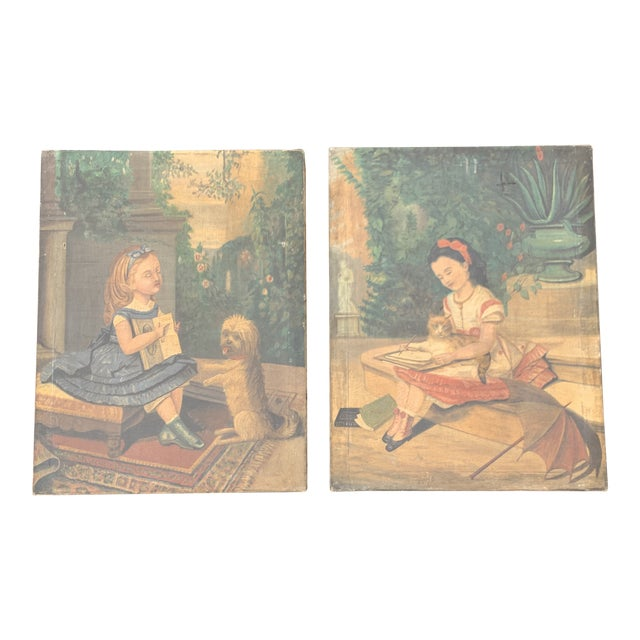 """19th CenturyFolk Art Paintings, """"Learning to Read and to Write"""" With a Dog and a Cat - a Pair For Sale"""