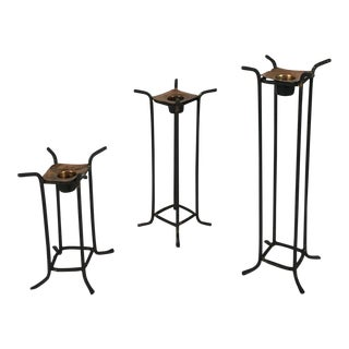 1980s Post Modern Black Iron & Copper Candle Holders - Set of 3 For Sale