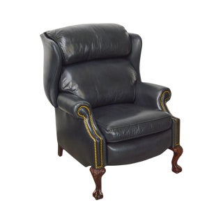 Hancock & Moore Black Leather Chippendale Style Ball & Claw Recliner Wing Chair