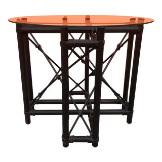 1960s Mid Century Modern Wood and Leather Side Table For Sale