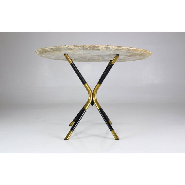 Mid 20th Century 1950s Italian Vintage Round Marble Table by Cesare Lacca For Sale - Image 5 of 12