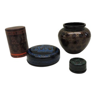 Collectible Set of Indian Lacquer Ware - Set of 8 For Sale