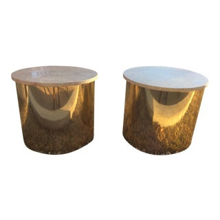 1970s Italian Paul Mayen Travertine Top Minimalist Cylinder Tables - a Pair For Sale