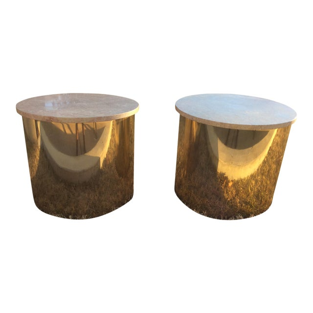 1970s Italian Paul Mayen Travertine Top Minimalist Cylinder Tables - a Pair For Sale