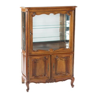 Late 19th Century Walnut / Mirrored Interior China Cabinet For Sale