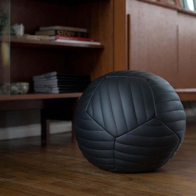 Leather Banded Ottoman in Black Leather by Moses Nadel For Sale - Image 7 of 8