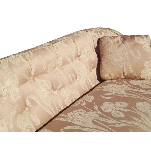 Henredon Mid Century Tufted Floral Soft Pink Tonal Sofa - Image 4 of 7