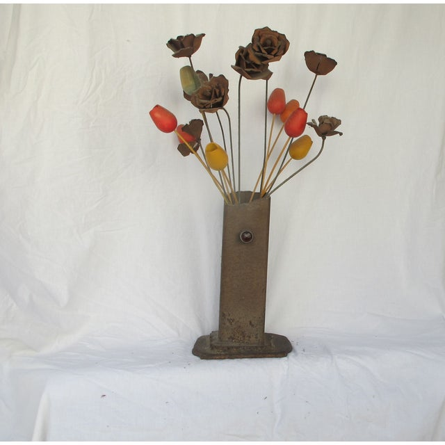 1960s Brutilist Iron Vase & Flowers - Image 2 of 5