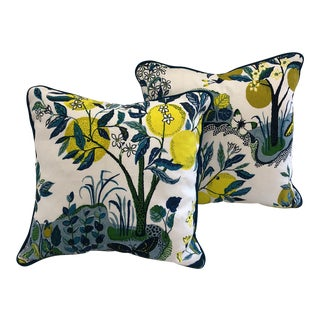 Cottage Schumacher Citrus Garden Linen Pillow Covers - a Pair