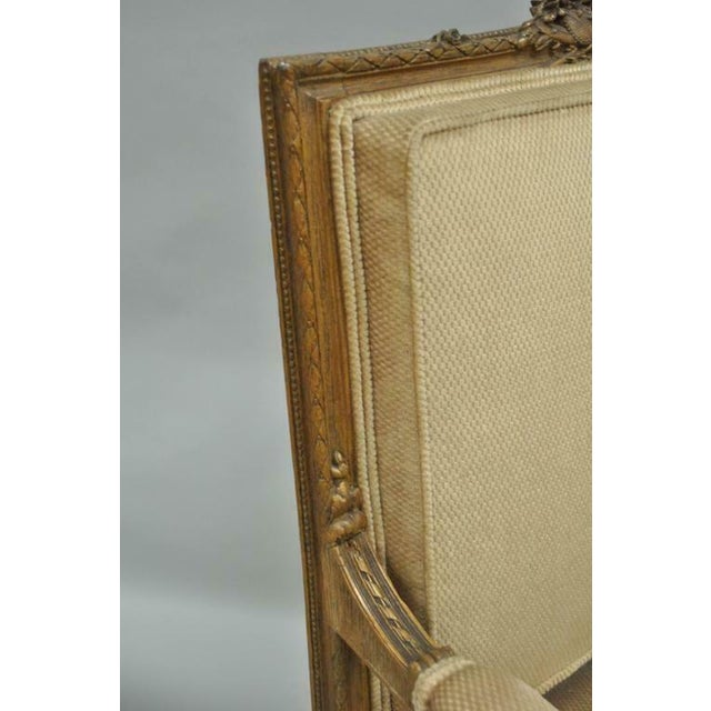 Fabric Vintage Carved Walnut French Louis XVI Directoire Square Back Fireside Arm Chairs- a Pair For Sale - Image 7 of 10