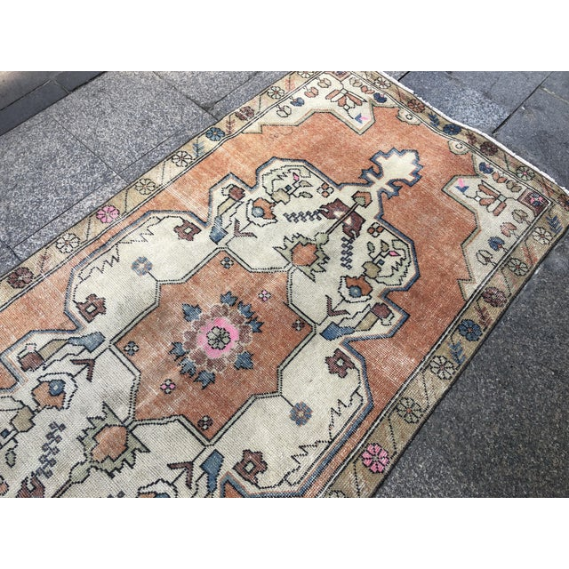 1960s 1960s Vintage Anatolian Floral Rug- 3′8″ × 7′9″ For Sale - Image 5 of 11