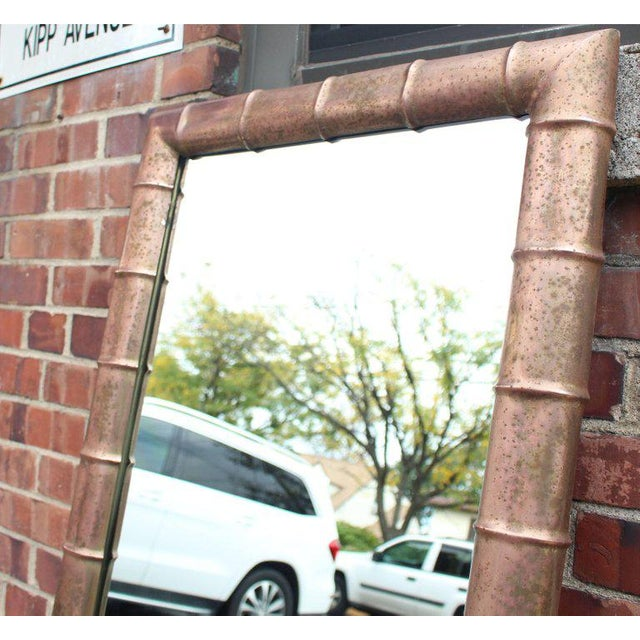 Copper Mid-Century Modern Faux Bamboo Weathered Copper Rectangular Mirror For Sale - Image 8 of 10