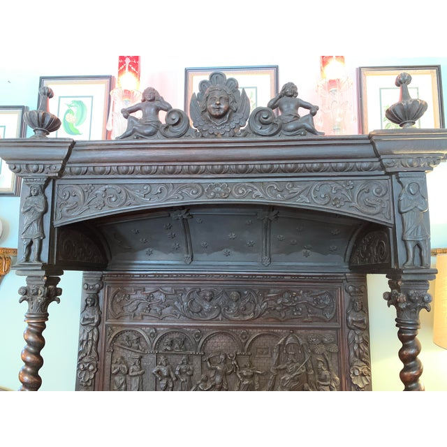 Wood 16th Century Antique High Gothic Pictorial Bench For Sale - Image 7 of 12