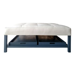 Gambrell Renard Tufted Leather Austin Ottoman With Trays For Sale