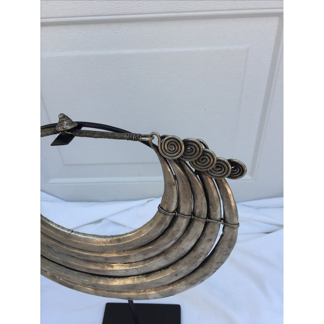 Vintage Tribal Metal Necklace on Stand - Image 6 of 7