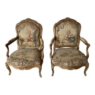 19th Century French Tapestry Chairs - a Pair For Sale