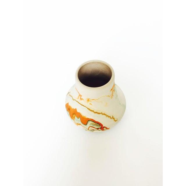 Vintage Nemadji Pottery Vase - Green and Orange Swirls - Image 4 of 5