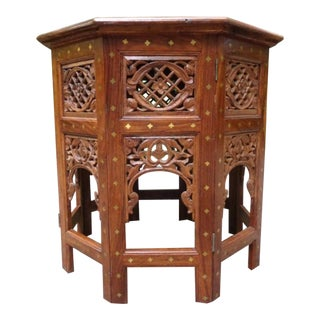 Vintage Moroccan Brass Inlay Tabouret Moorish Side Table For Sale