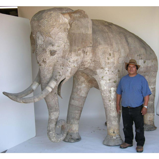 Primitive Life Size Papier Mache Elephant For Sale - Image 3 of 9