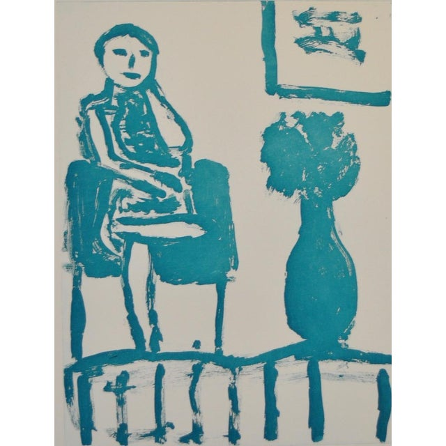 "Contemporary Arthur Krakower ""Seated Woman With Flowers "" Original Monotype For Sale - Image 3 of 5"